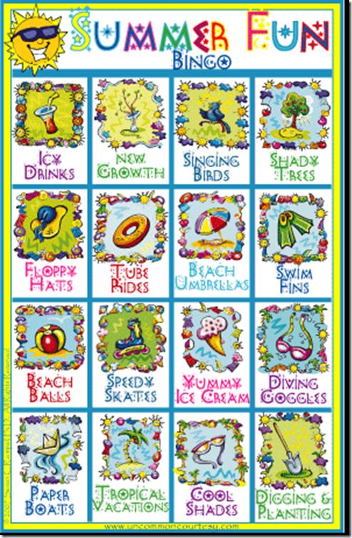 Summer Fun Bingo Game